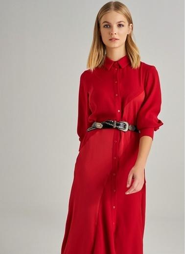 Monamoda Saten Detaylı Gömlek Elbise Kırmızı